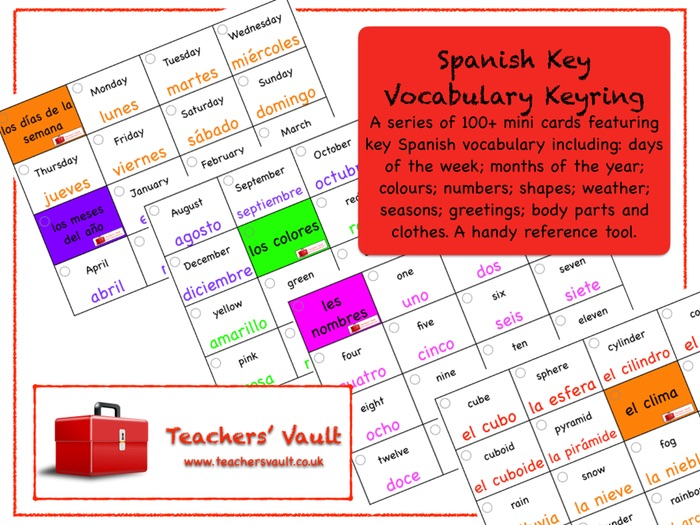 Spanish Key Vocabulary Keyring