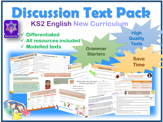 5 Lessons PowerPoint and Plan Discussion Text KS2