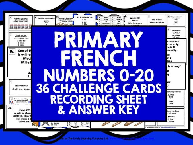 PRIMARY FRENCH NUMBERS 0-20 CHALLENGE CARDS
