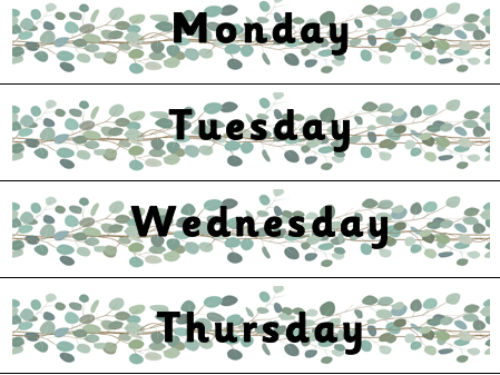 Monday to Friday Tray Labels Leaf Design