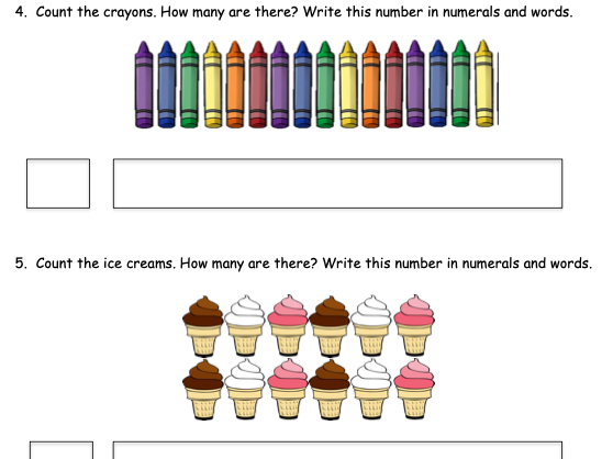 Reading and writing numbers from 1-100 in numerals and words (Differentiated)