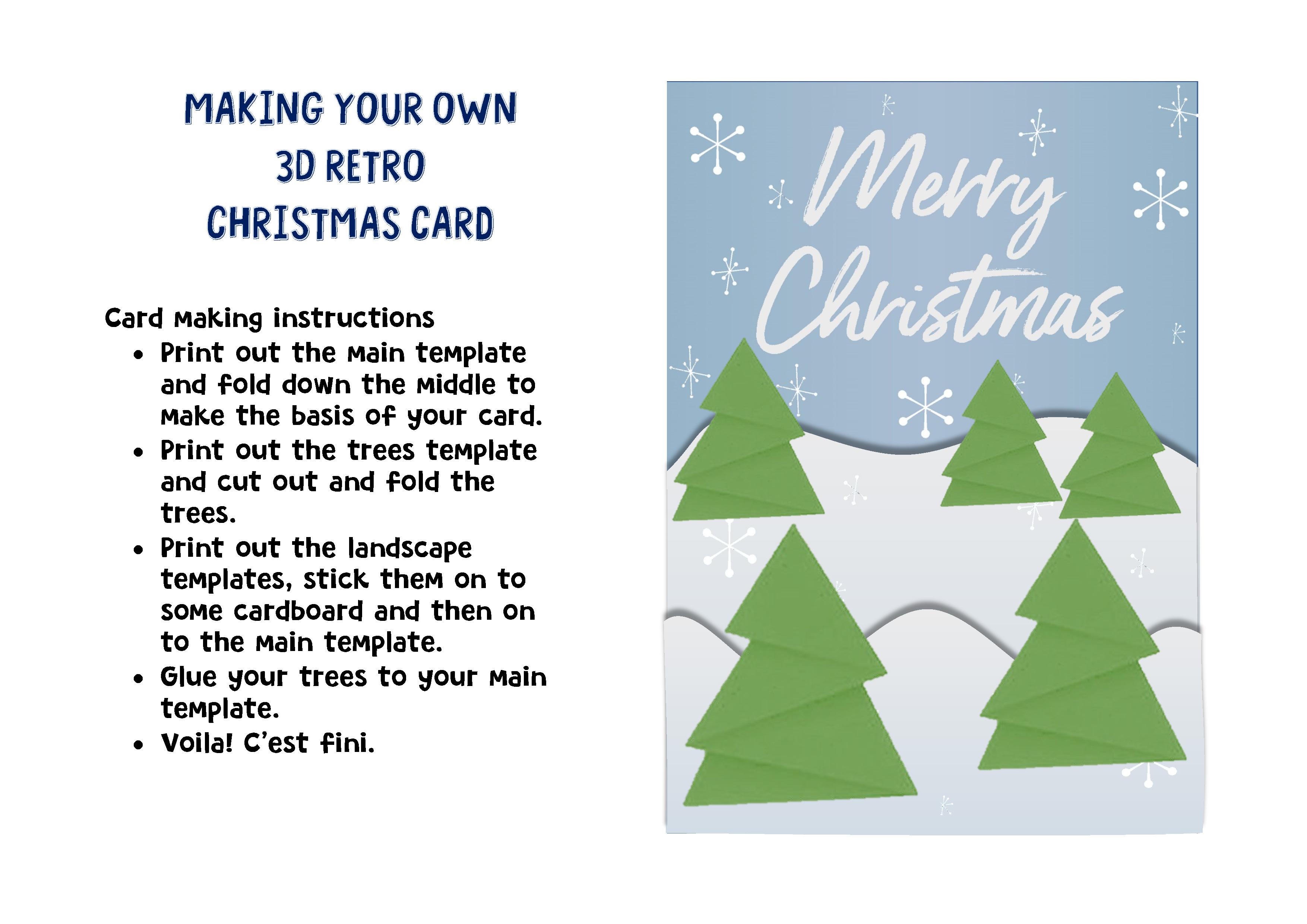 Christmas Card Template.3d Retro Christmas Card Template