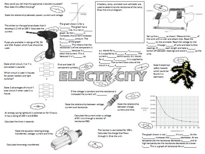 edexcel igcse electricity revision placemat by