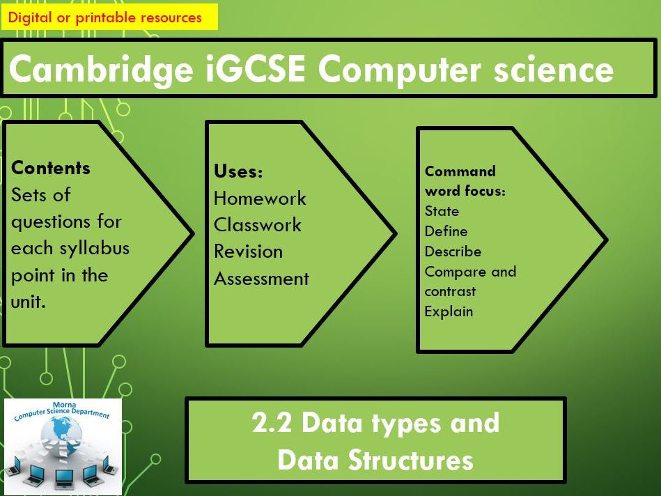 iGCSE Computer Science Revision Activities Unit 2.2 Data types and Data Structures