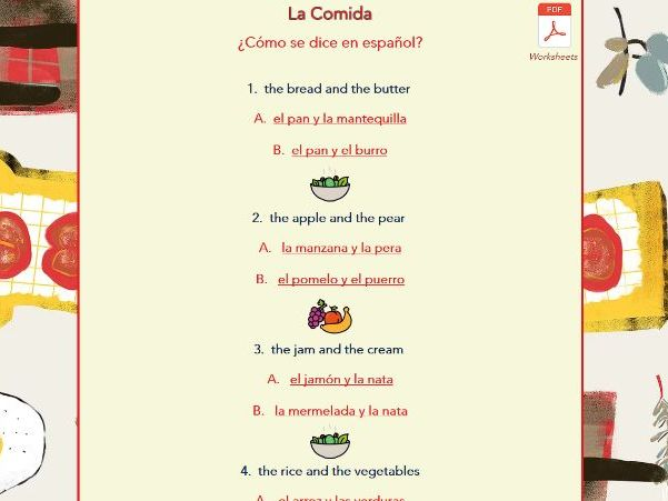 La Comida - worksheets + web pages