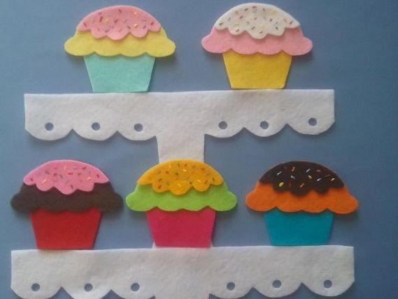 Five Yummy Cupcakes Felt Board Set Digital Pattern