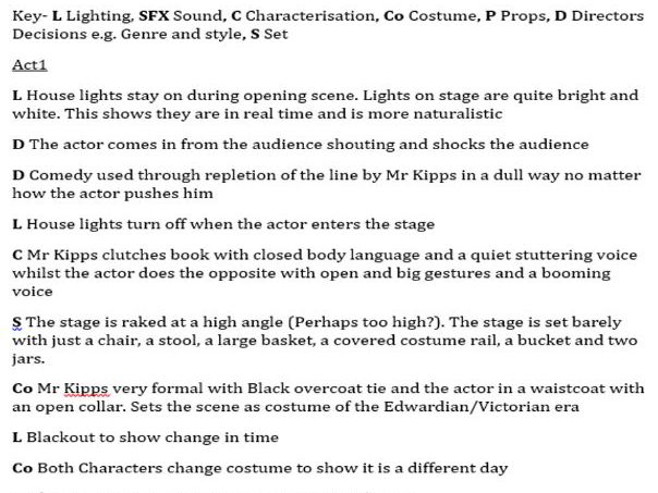 Woman in Black Performance notes