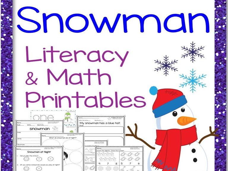Snowman Literacy and Math Printables