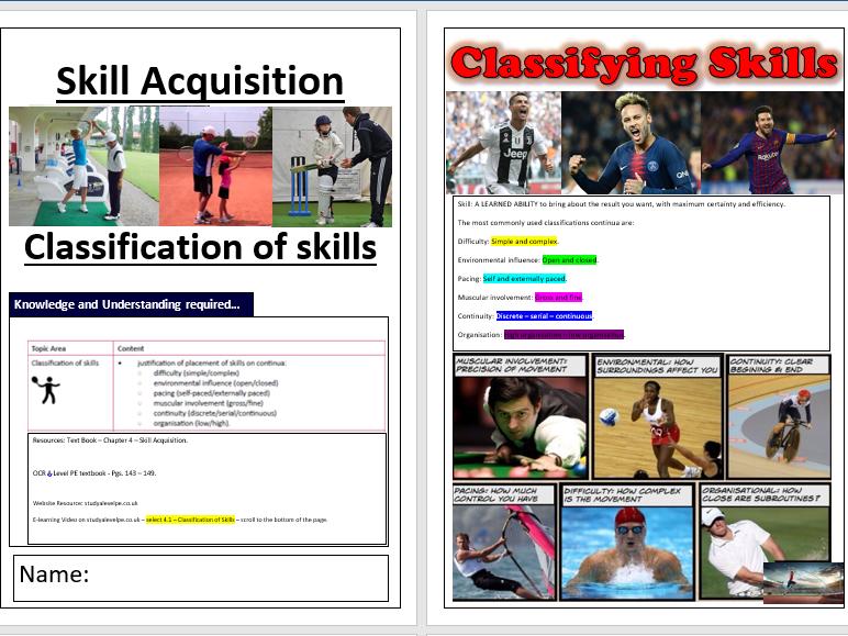 OCR A Level PE - Skill Acquisition ILT1 - Classification of Skills