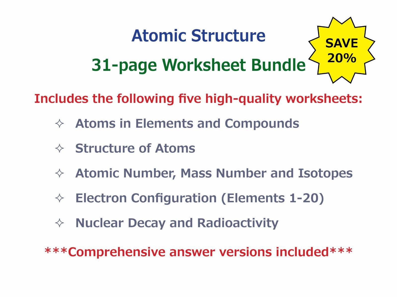 Atoms in Elements and Compounds Worksheet by – Electron Configuration Worksheet and Lots More Answers