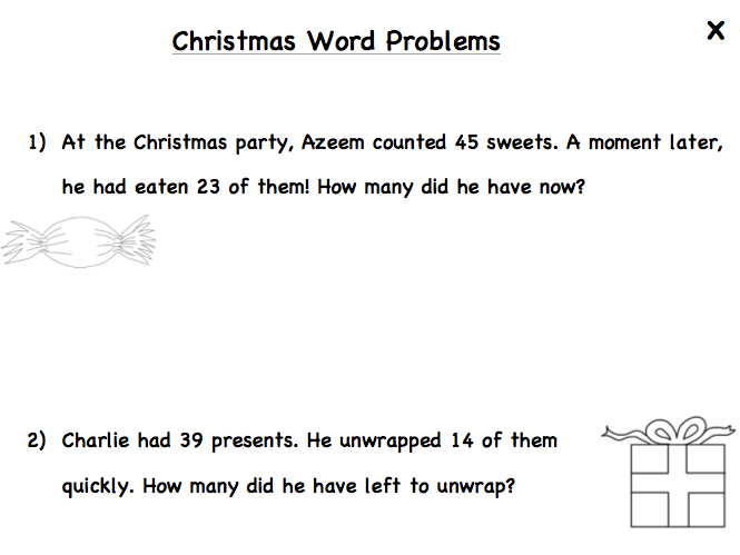 KS1 Differentiated Christmas Word problems
