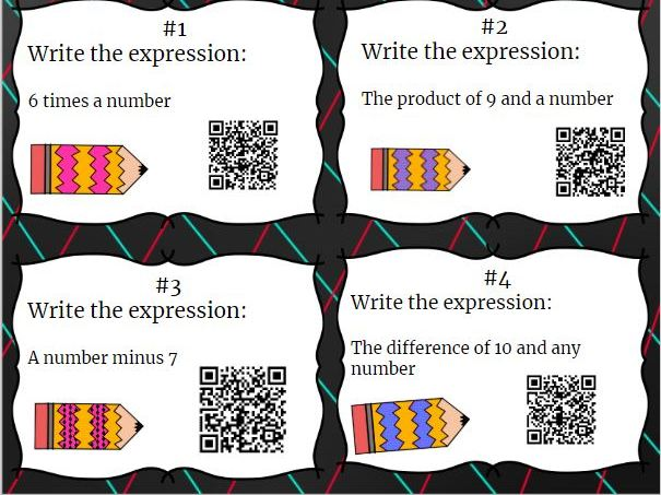 20 Algebraic Expressions Task Cards With QR Codes- Write the Expression