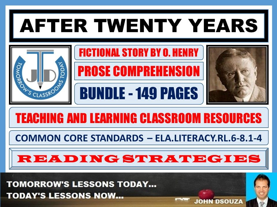 AFTER TWENTY YEARS BY O. HENRY - COMPREHENSION CLASSROOM RESOURCES - BUNDLE