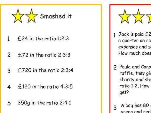GCSE Foundation/Functional Skills- Sharing in a ratio RAG Worksheet