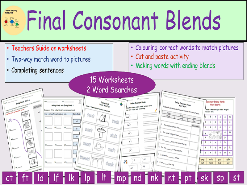 Phonics:  Final/Endings Consonant Blends/Clusters, Worksheets, Cut/Paste, Matching, Word Searches