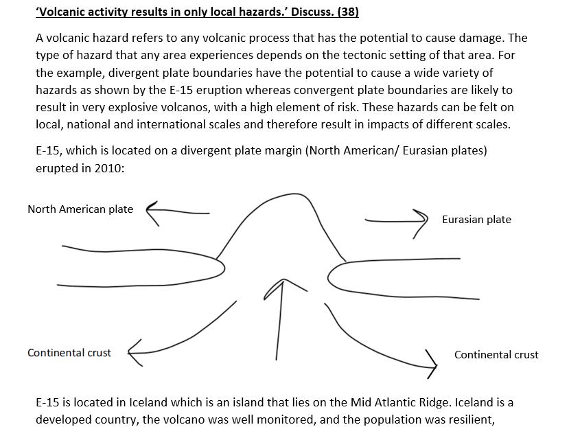 Eduqas A level Geography model answer- Tectonic Hazards (2)
