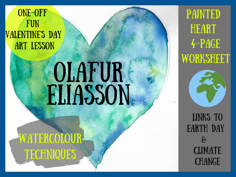 Heart themed watercolour painting linked to Olafur Eliasson and climate change