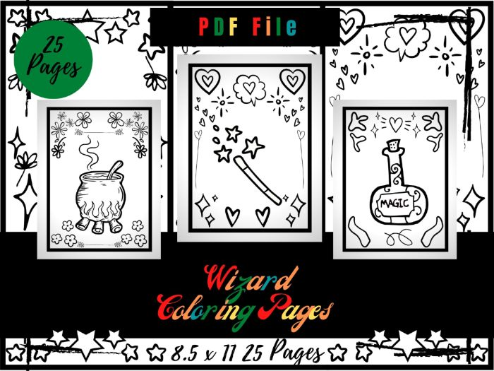Wizard Colouring Pages, Hat And Magic Wand Printable Colouring Sheets PDF