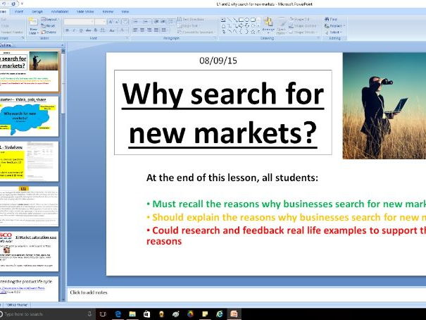 Why search for new markets - A level Business / Economics