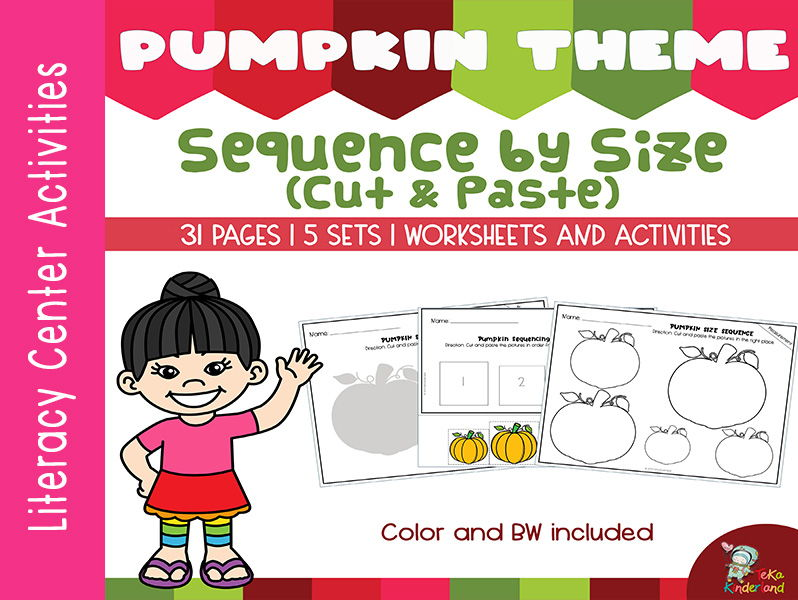 Pumpkin Theme Sequencing by Size Worksheets (Cut and Paste)