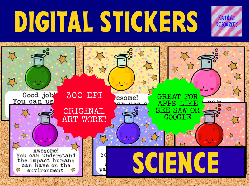 Digital Reward Virtual Teacher Stickers Star - Science - Marking