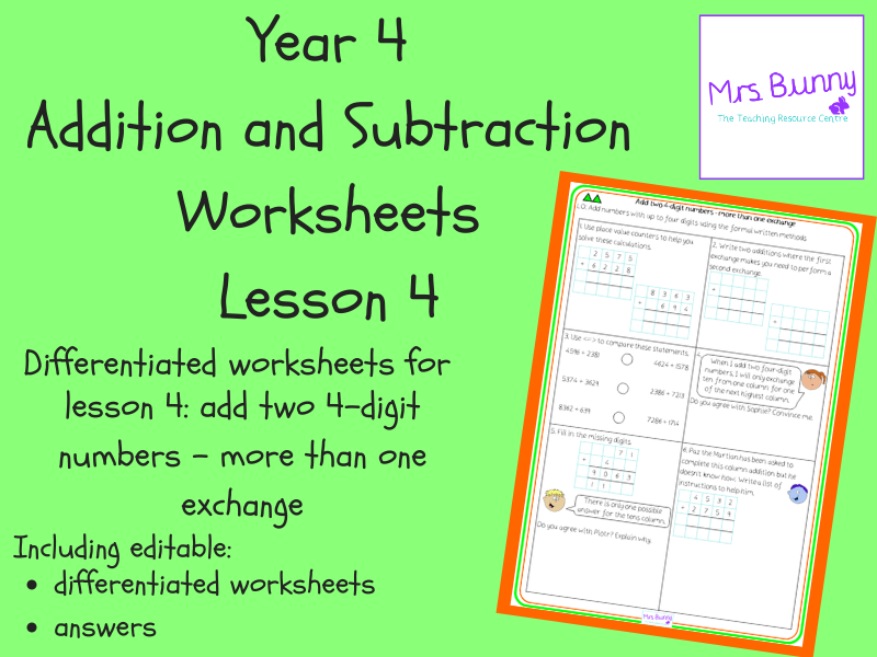 Add two 4-digit numbers - more than one exchange worksheets (Year 4 Addition and Subtraction)