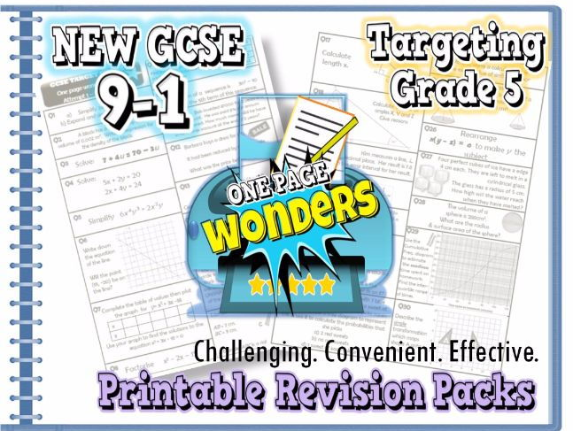 "New GCSE Maths 9-1 Revision Pack With Solutions- Target Grade 5 ""one-page wonder"""