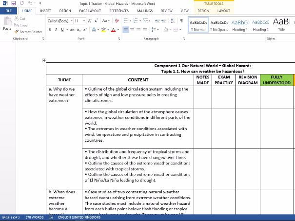 GCSE Geography 1-9 OCR B Student tracking sheets
