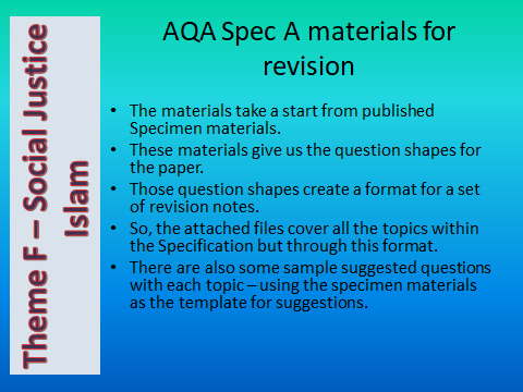 AQA GCSE (9-1) RS Spec A - Revision materials - Theme F Human Rights & Social Justice - Islam