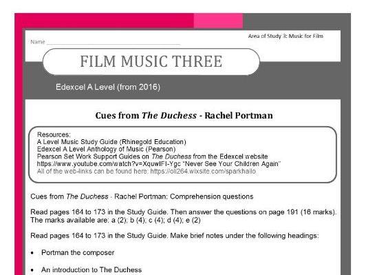 Edexcel A Level Music (from 2016-) 'Portman - The Duchess' Film Music Three