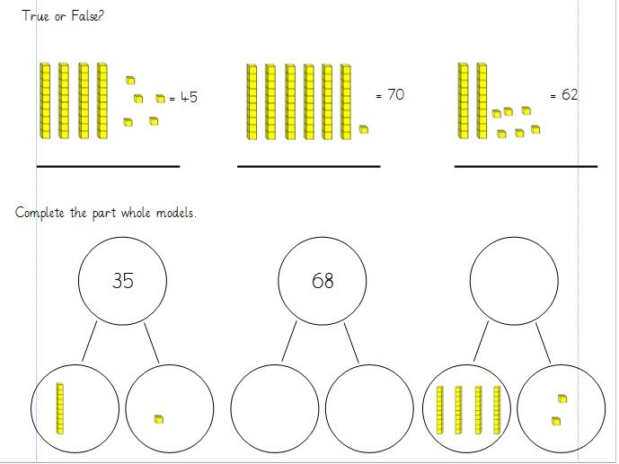 Partitioning up to 100. Year 1 Differentiated Worksheets (white rose)