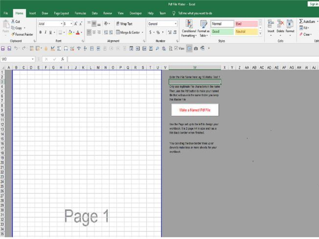 Make a named Pdf File from an Excel File
