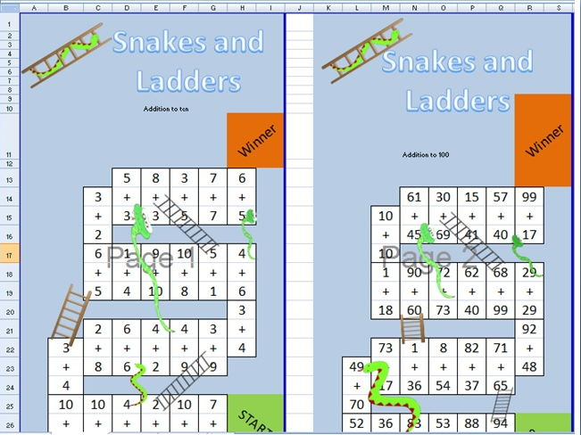 Snakes and Ladders addition game generator