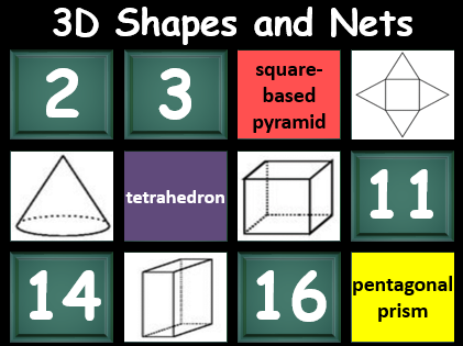 3D shapes and nets ppt matching game