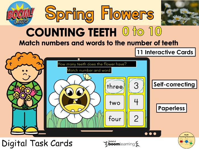 Counting 0 to 10 Flowers Teeth Spring BOOM Cards™ Distance Learning