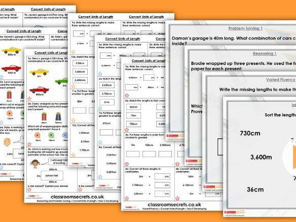 Year 5 Convert Units of Length Autumn Block 5 Extra Step Lesson Pack