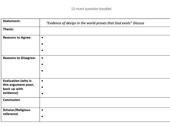 12 mark question revision . (AQA)
