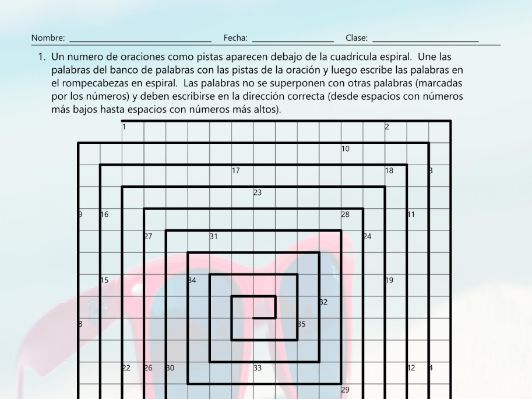 Beach Things and Activities Word Spiral Spanish Worksheet