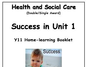 GCSE Health and Social Care Unit 1 Edexcel Revision / Homework Booklet Guide
