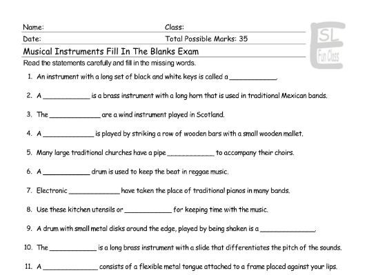Musical Instruments Fill In The Blanks Exam