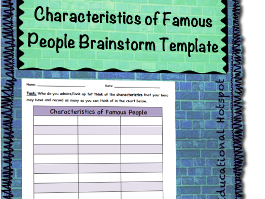 Characteristics of Famous People Brainstorm Template