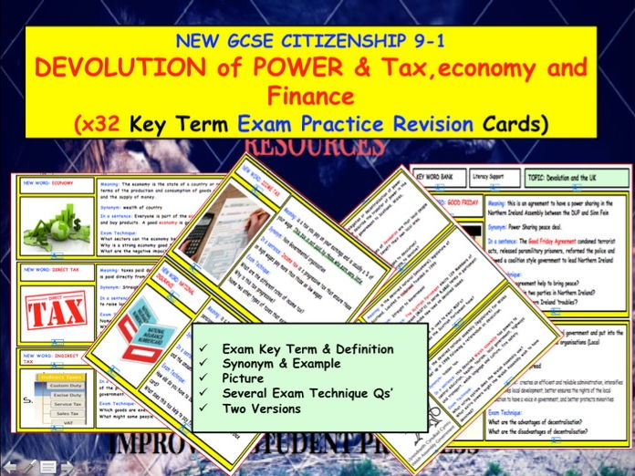 Devolution of Power and UK Economy Tax and Finance x32 Key Term Revision  cards GCSE CITIZENSHIP