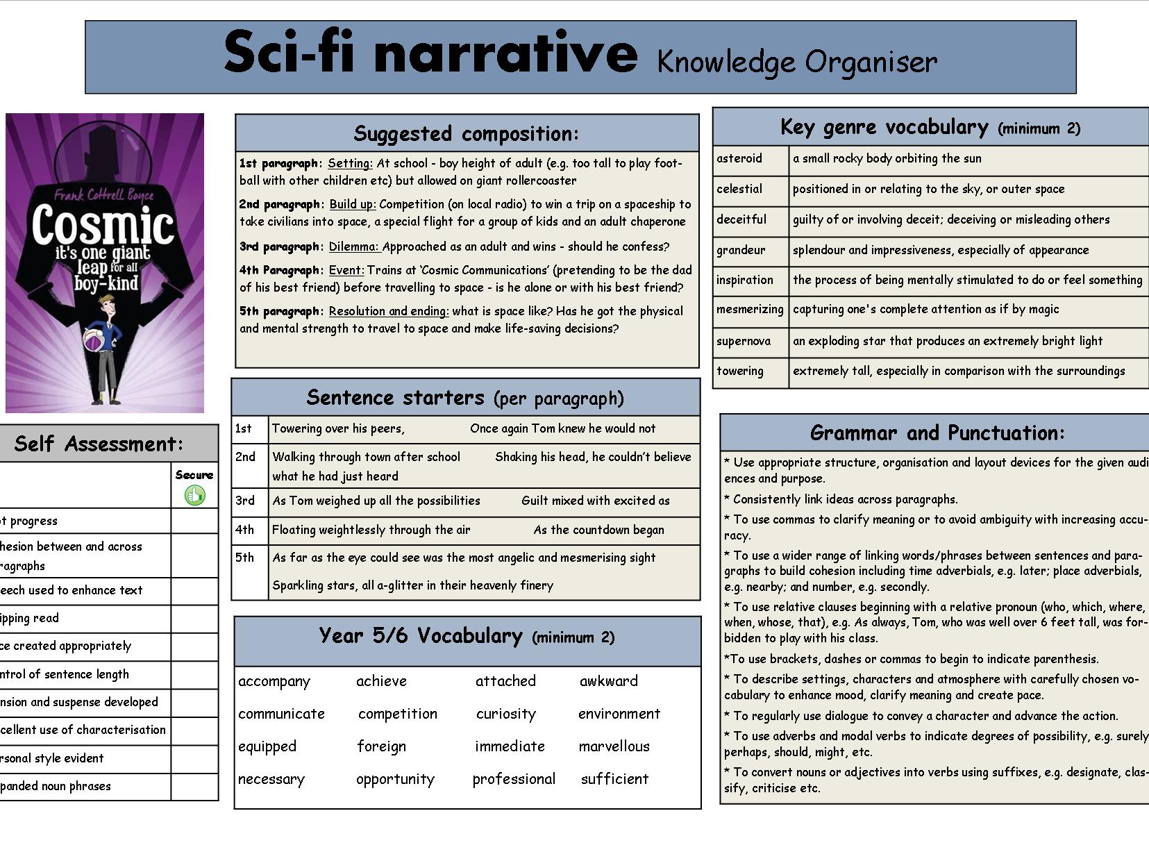 Sci-fi narrative knowledge organiser based on 'Cosmic'