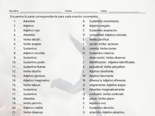 Word Forms Sentence Match Spanish Worksheet