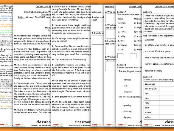 Year 6 Wimbledon Whole Class Guided Reading Comprehension London Live