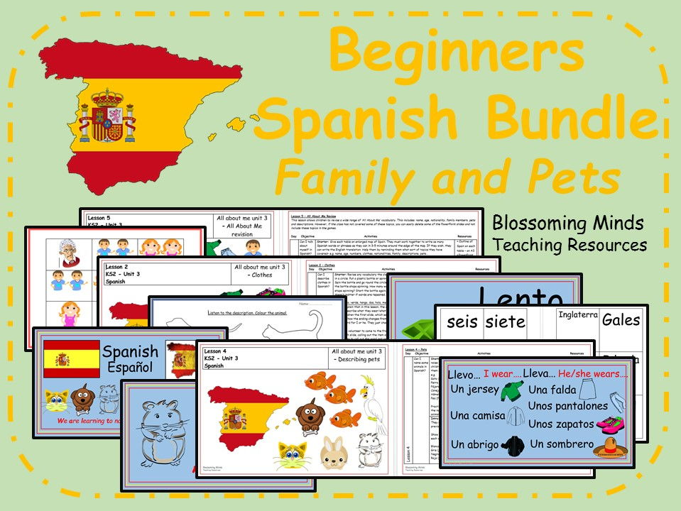 Spanish 5 lesson bundle - KS2 - Family members and pets