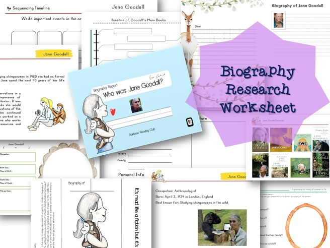 Biography Research Report / Jane Goodall Biography worksheet