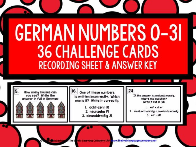 GERMAN NUMBERS 0-31 CHALLENGE CARDS