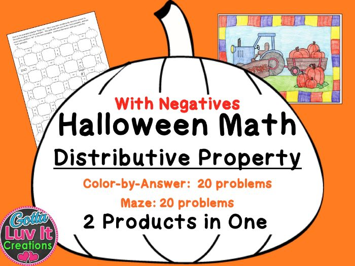 Halloween Math Distributive Property (With Negatives) Maze & Color by Number Activity
