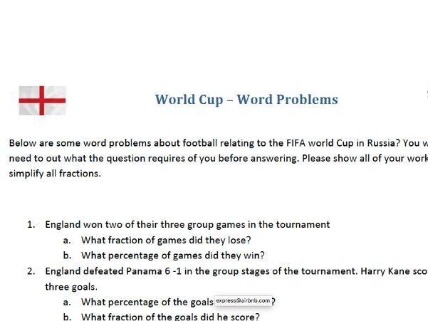 Russia 2018 Fifa World Cup Word Problems